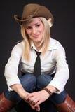 Sexy blonde veedrijfster Stock Foto