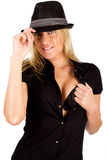 Sexy blonde wearing a hat Royalty Free Stock Photography