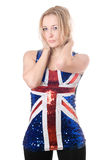 blonde wearing union-flag shirt Stock Photo