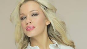 Sexy Blonde Wearing White Shirt stock video