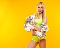 Sexy blonde weibliche Cheerleader Lizenzfreies Stockfoto