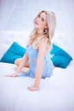 Sexy blonde woman on bed Royalty Free Stock Photo