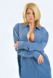 Sexy blonde woman in blue men's shirt Stock Photos