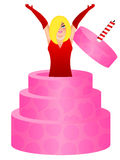 Sexy Blonde Woman Jumping Out of Birthday Cake Royalty Free Stock Photography