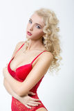 Sexy blonde woman in lacy lingerie Royalty Free Stock Photo