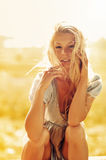 Sexy blonde woman outdoor portrait Stock Images