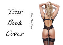 Sexy blonde woman rear view book cover template Stock Image