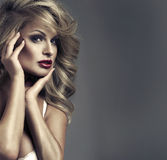 Vogue style portrait of delicate woman stock image