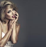 Vogue style portrait of beautiful woman stock photography