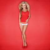 Sexy Blonde Woman In Red Tank Top Royalty Free Stock Image
