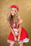 blonde woman in red vintage dress Royalty Free Stock Photography
