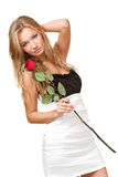 Sexy blonde woman with rose Royalty Free Stock Image