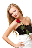 Sexy blonde woman with rose Royalty Free Stock Images