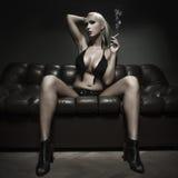 Sexy blonde woman smoking Royalty Free Stock Photo