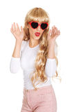 Sexy blonde woman in sunglasses. Royalty Free Stock Photography