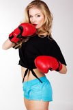 Sexy blonde woman is wearing box gloves Royalty Free Stock Photo