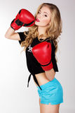 Sexy blonde woman is wearing box gloves Stock Photo