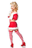 Sexy blonde woman wearing Christmas costume on white background. Royalty Free Stock Images