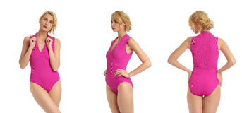 blonde woman wearing pink swimwear isolated on white Stock Image