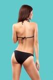Sexy blonde woman wearing swimwear posing on color background. Perfect body. Bikini catalogue. Royalty Free Stock Photo