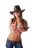 Sexy blonde young woman in cowboy hat Stock Photography