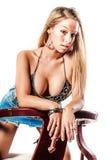 Sexy blondemeisje/mannequin royalty-vrije stock foto