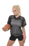 Sexy blonder (amerikanischer) Spieler des Fußballs Stockbilder