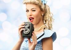 Sexy blonder Stift herauf junge Frau lizenzfreies stockfoto