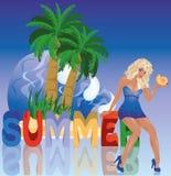 Sexy blondes Mädchen des Sommers Stockbild