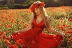 Sexy blondes Mädchen im eleganten Kleid, das auf dem Sommergebiet von roten Mohnblumen aufwirft Lizenzfreie Stockfotografie