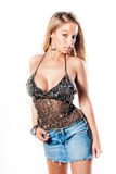 Sexy blondes Mädchen/Mode-Modell lizenzfreie stockfotos