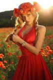 Sexy blondes Mädchen im eleganten Kleid, das auf dem Sommergebiet von roten Mohnblumen aufwirft Stockbild