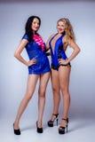 Sexy blondes und Brunette im Studio Lizenzfreies Stockfoto