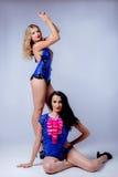 Sexy blondes und Brunette im Studio Stockfotos