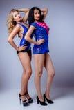 Sexy blondes und Brunette im Studio Lizenzfreie Stockfotografie