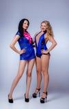 Sexy blondes und Brunette im Studio Lizenzfreies Stockbild