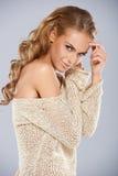 Sexy blondevrouw Stock Foto