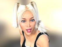 sexy Blondine 3d, die überrascht sind Stockbild