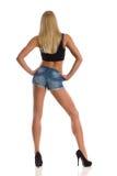 Sexy Blondine in der hinteren Ansicht der hohen Absätze Lizenzfreie Stockfotos