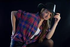 Sexy blondy veedrijfster royalty-vrije stock afbeelding