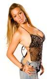 blondynkę na czarną Fotografia Stock