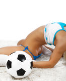 Sexy body and ball. Image of sexy ass of soccer player Royalty Free Stock Photo