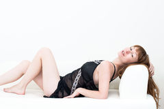 Sexy body-beautiful young attractive caucasian woman Royalty Free Stock Image