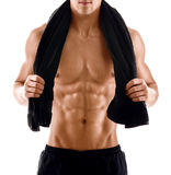 Sexy body of muscular man with towel Stock Image