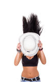 body with a summer hat covering face stock image