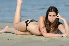 Sexy body type in bikini and good looking lady lie prone on sand Stock Images