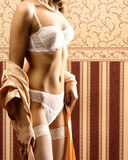 Sexy body of a young woman in erotic clothes Stock Image