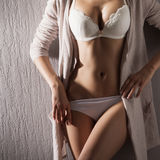 Sexy body of a young woman posing in erotic clothes Royalty Free Stock Images