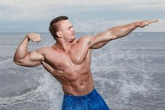 Sexy bodybuilder on the beach Stock Photography