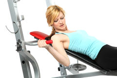 Sexy bolnde girl training in fitness Stock Images